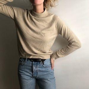 VINTAGE/ slouchy mock neck crop knit sand
